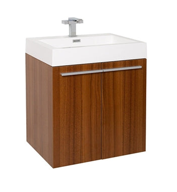 "Fresca Alto 23"" Teak Modern Bathroom Cabinet w/ Integrated Sink"