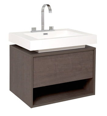 "Fresca Potenza 28"" Gray Oak Modern Bathroom Cabinet w/ Vessel Sink"