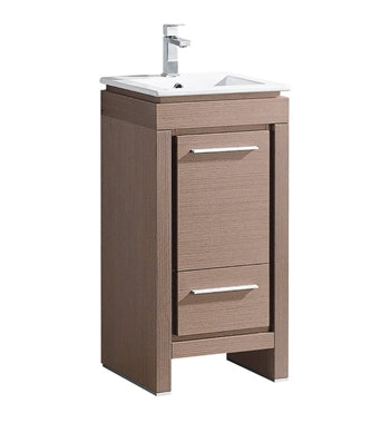 "Fresca Allier 16"" Gray Oak Modern Bathroom Cabinet w/ Sink"