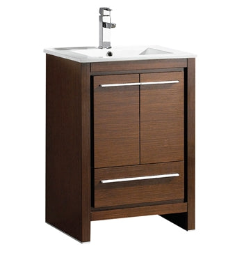 "Fresca Allier 24"" Wenge Brown Modern Bathroom Cabinet w/ Sink"