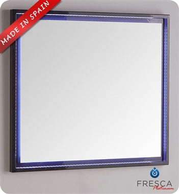 "Fresca Platinum Due 32"" Glossy White Bathroom LED Mirror"