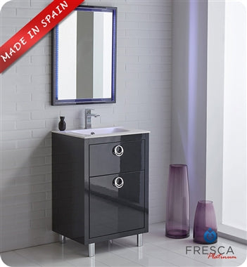 "Fresca Platinum Wave 40"" Glossy White Modern Bathroom Vanity"