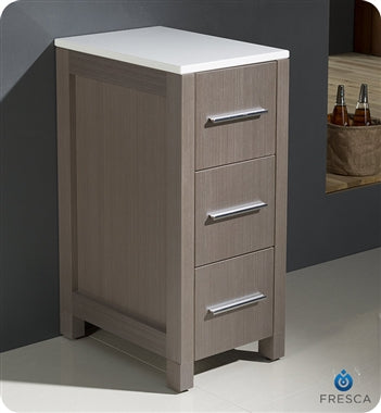 "Fresca Torino 12"" Gray Oak Bathroom Linen Side Cabinet"