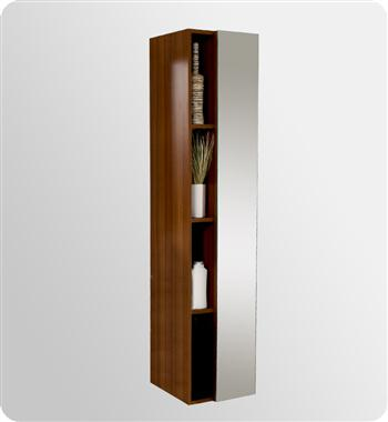 Fresca Teak Bathroom Linen Side Cabinet w/ 4 Cubby Holes & Mirror