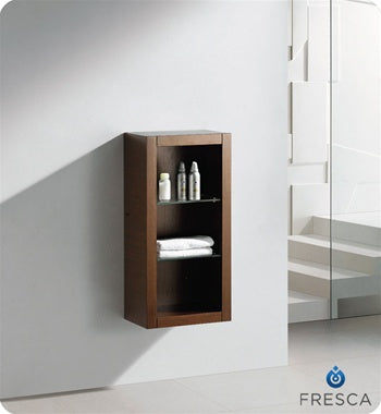 Fresca Allier Wenge Brown Bathroom Linen Side Cabinet w/ 2 Glass Shelves