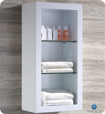 Fresca Allier White Bathroom Linen Side Cabinet w/ 2 Glass Shelves