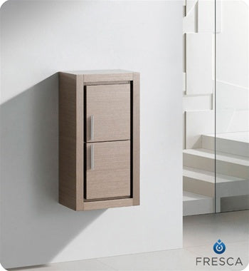 Fresca Allier Gray Oak Bathroom Linen Side Cabinet w/ 2 Doors