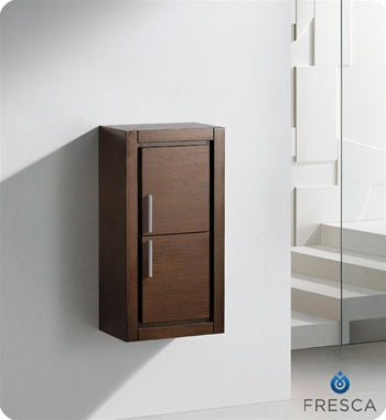 Fresca Allier Wenge Brown Bathroom Linen Side Cabinet w/ 2 Doors