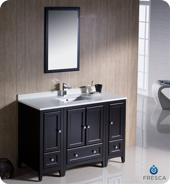 "Fresca Oxford 48"" Espresso Traditional Bathroom Vanity"