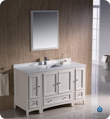 "Fresca Oxford 54"" Antique White Traditional Bathroom Vanity"