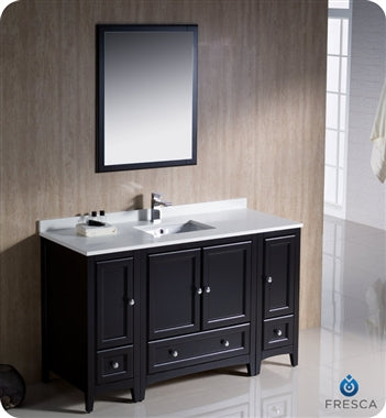 "Fresca Oxford 54"" Espresso Traditional Bathroom Vanity"