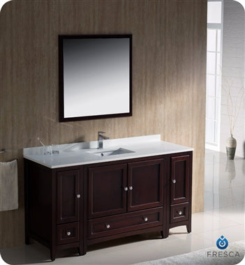 "Fresca Oxford 60"" Mahogany Traditional Bathroom Vanity"
