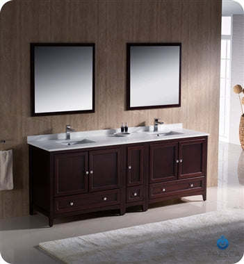 "Fresca Oxford 84"" Mahogany Traditional Double Sink Bathroom Vanity"
