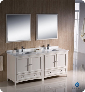 "Fresca Oxford 72"" Antique White Traditional Double Sink Bathroom Vanity"