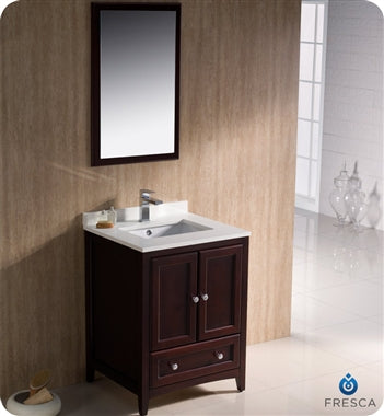 "Fresca Oxford 24"" Mahogany Traditional Bathroom Vanity"