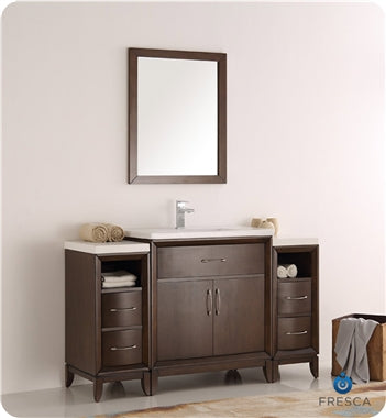 "Fresca Cambridge 54"" Antique Coffee Traditional Bathroom Vanity w/ Mirror"