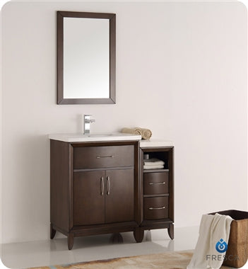 "Fresca Cambridge 36"" Antique Coffee Traditional Bathroom Vanity w/ Mirror"