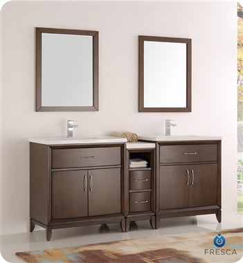 "Fresca Cambridge 72"" Antique Coffee Double Sink Traditional Bathroom Vanity w/ Mirrors"