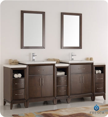 "Fresca Cambridge 84"" Antique Coffee Double Sink Traditional Bathroom Vanity w/ Mirrors"