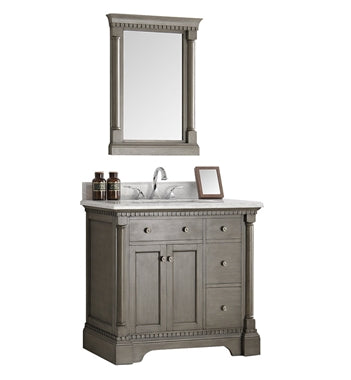 "Fresca Kingston 36"" Antique Silver Traditional Bathroom Vanity w/ Mirror"