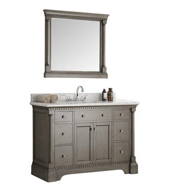 "Fresca Kingston 48"" Antique Silver Traditional Bathroom Vanity w/ Mirror"