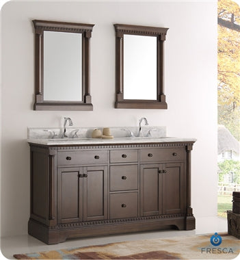 "Fresca Kingston 60"" Antique Coffee Double Sink Traditional Bathroom Vanity w/ Mirrors"