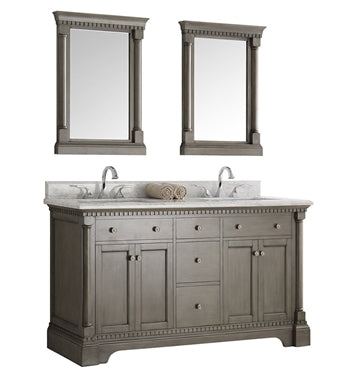 "Fresca Kingston 60"" Antique Silver Double Sink Traditional Bathroom Vanity w/ Mirrors"