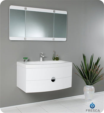 "Fresca Energia 36"" White Modern Bathroom Vanity w/ Three Panel Folding Mirror"