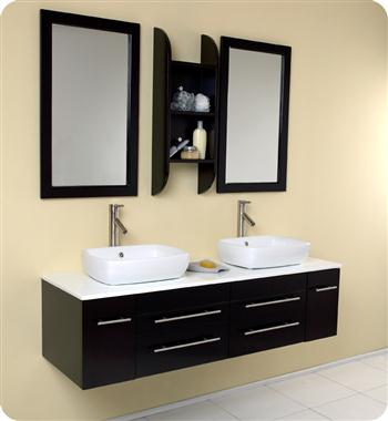 "Fresca Bellezza 59"" Espresso Modern Double Vessel Sink Bathroom Vanity"