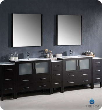 "Fresca Torino 108"" Espresso Modern Double Sink Bathroom Vanity w/ 3 Side Cabinets & Integrated Sinks"