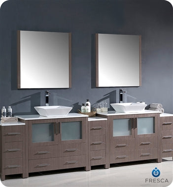 "Fresca Torino 108"" Gray Oak Modern Double Sink Bathroom Vanity w/ 3 Side Cabinets & Vessel Sinks"