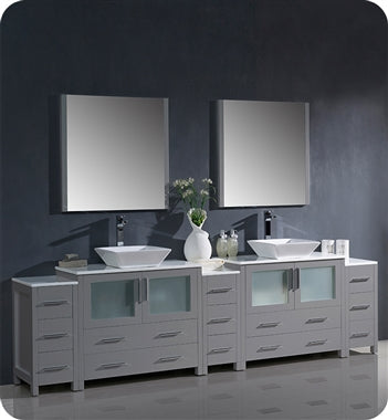 "Fresca Torino 108"" Gray Modern Double Sink Bathroom Vanity w/ 3 Side Cabinets & Vessel Sinks"