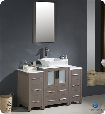 "Fresca Torino 48"" Gray Oak Modern Bathroom Vanity w/ 2 Side Cabinets & Vessel Sink"