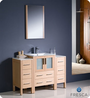 "Fresca Torino 48"" Light Oak Modern Bathroom Vanity w/ 2 Side Cabinets & Integrated Sink"
