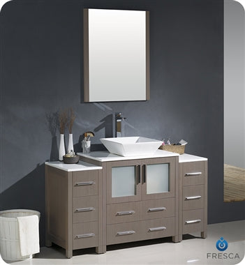 "Fresca Torino 54"" Gray Oak Modern Bathroom Vanity w/ 2 Side Cabinets & Vessel Sink"