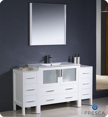 "Fresca Torino 60"" White Modern Bathroom Vanity w/ 2 Side Cabinets & Integrated Sink"