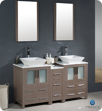 "Fresca Torino 60"" Gray Oak Modern Double Sink Bathroom Vanity w/ Side Cabinet & Vessel Sinks"