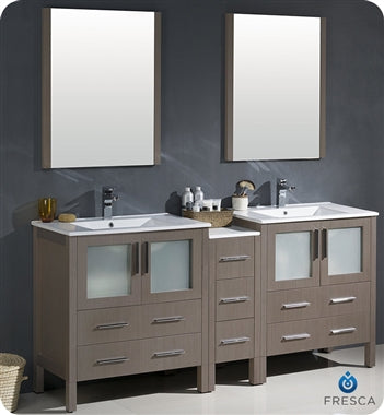 "Fresca Torino 72"" Gray Oak Modern Double Sink Bathroom Vanity w/ Side Cabinet & Integrated Sinks"