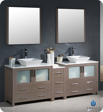 "Fresca Torino 84"" Gray Oak Modern Double Sink Bathroom Vanity w/ Side Cabinet & Vessel Sinks"