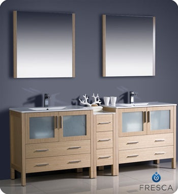"Fresca Torino 84"" Light Oak Modern Double Sink Bathroom Vanity w/ Side Cabinet & Integrated Sinks"