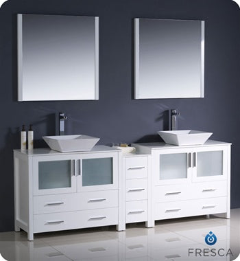 "Fresca Torino 84"" White Modern Double Sink Bathroom Vanity w/ Side Cabinet & Vessel Sinks"