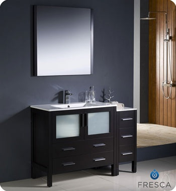 "Fresca Torino 48"" Espresso Modern Bathroom Vanity w/ Side Cabinet & Integrated Sink"