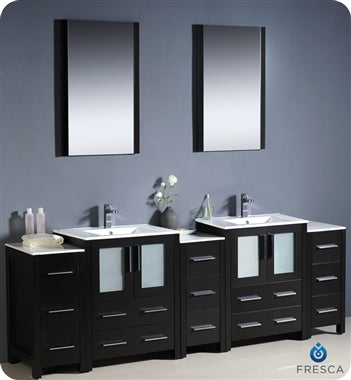 "Fresca Torino 84"" Espresso Modern Double Sink Bathroom Vanity w/ 3 Side Cabinets & Integrated Sinks"