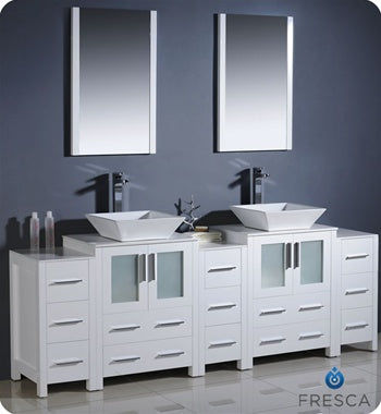 "Fresca Torino 84"" White Modern Double Sink Bathroom Vanity w/ 3 Side Cabinets & Vessel Sinks"