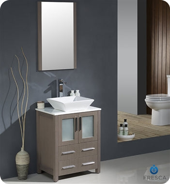 "Fresca Torino 24"" Gray Oak Modern Bathroom Vanity w/ Vessel Sink"