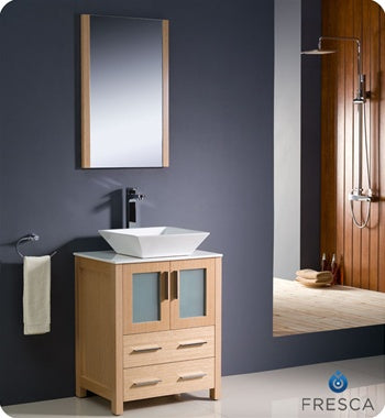 "Fresca Torino 24"" Light Oak Modern Bathroom Vanity w/ Vessel Sink"