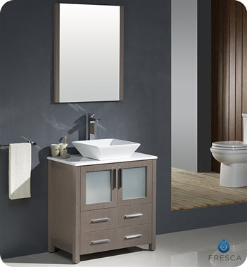 "Fresca Torino 30"" Gray Oak Modern Bathroom Vanity w/ Vessel Sink"