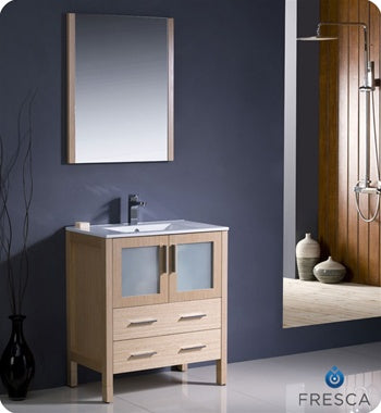 "Fresca Torino 30"" Light Oak Modern Bathroom Vanity w/ Integrated Sink"