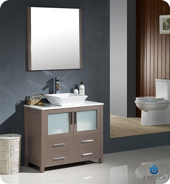 "Fresca Torino 36"" Gray Oak Modern Bathroom Vanity w/ Vessel Sink"