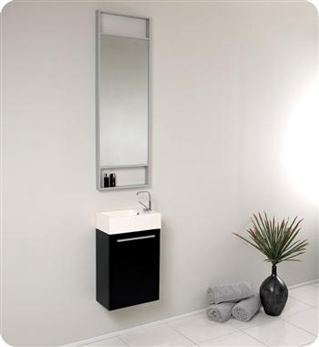"Fresca Pulito 16"" Small Black Modern Bathroom Vanity w/ Tall Mirror"